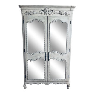 Restoration Hardware Ornate Grey Mirrored Armoire For Sale