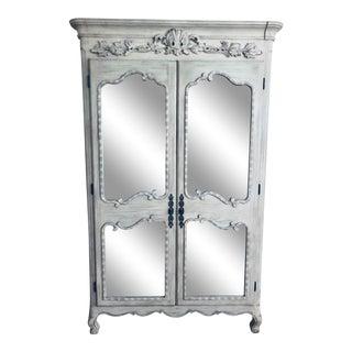 Restoration Hardware Ornate Grey Mirrored Armoire