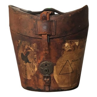 Antique Leather an & Csl Triple Hat Box With Travel Stamps, Satin Lined, 1880s For Sale