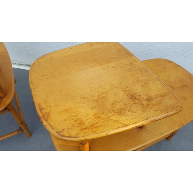 Heywood - Wakefield Two Tier Side Tables a Pair For Sale In Miami - Image 6 of 13