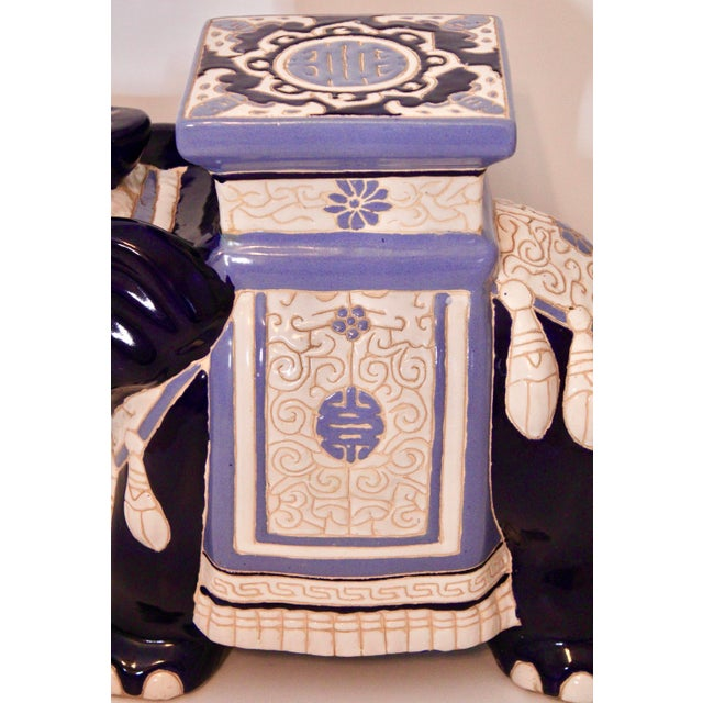 Ceramic Vintage Blue and White Ceramic Elephant Garden Stool For Sale - Image 7 of 13
