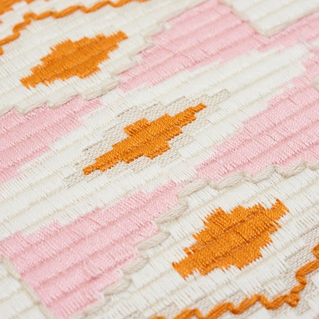 Schumacher Schumacher Bayeta Pink and Orange Embroidery Pillow For Sale - Image 4 of 6