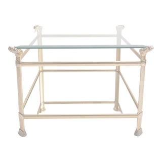 1940s Hollywood Regency Brass Square Coffee Table For Sale