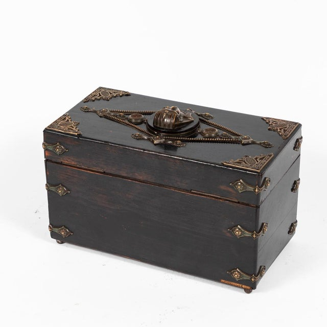 Wood French Ebonzied and Decorated Box For Sale - Image 7 of 9