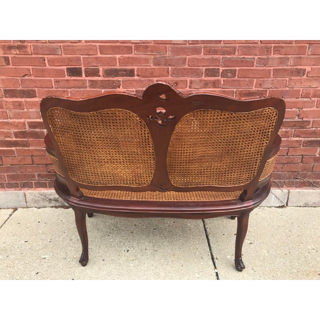 1990s Vintage Italian Curved Caned Loveseat For Sale - Image 5 of 10