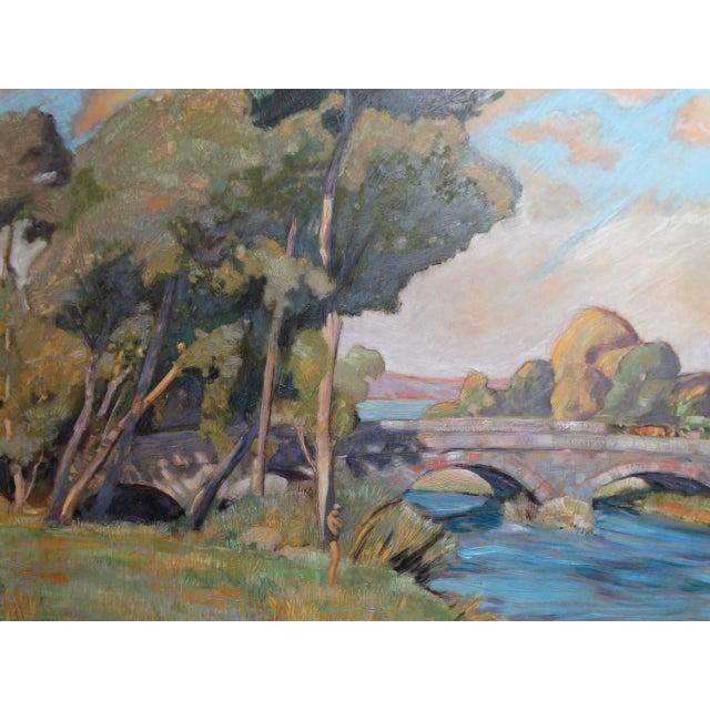 Figurative 1930s Dan Burgess Landscape Painting With Bridge For Sale - Image 3 of 11