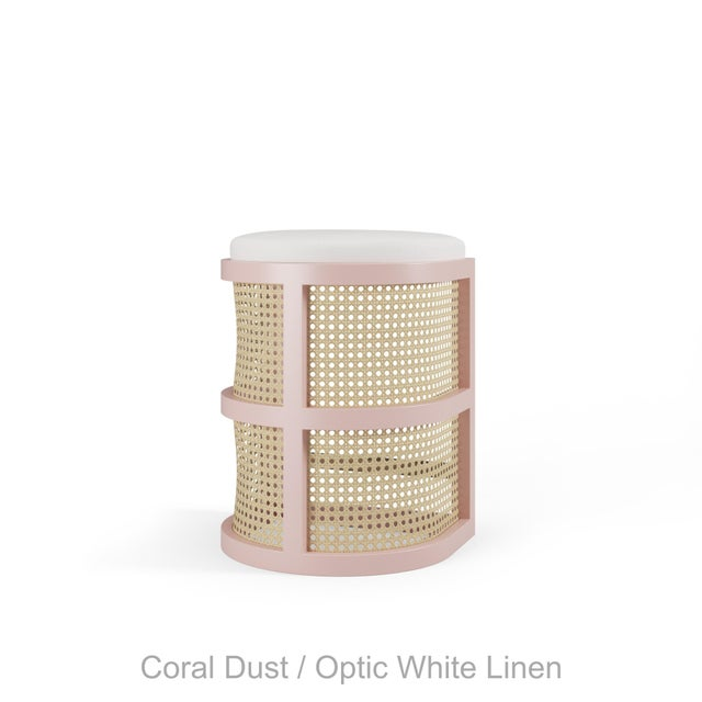 Not Yet Made - Made To Order Isabella Counter Stool - Coral Dust, Optic White Linen For Sale - Image 5 of 5