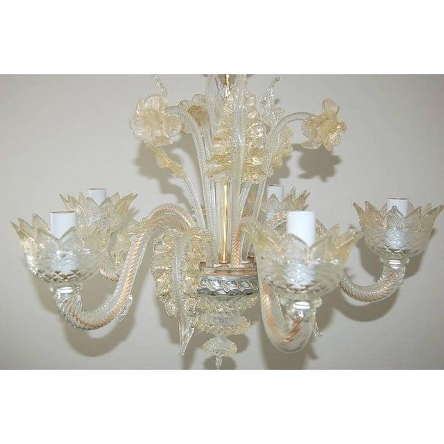 Hollywood Regency Vintage Murano Glass Champagne Gold Chandelier For Sale - Image 3 of 11
