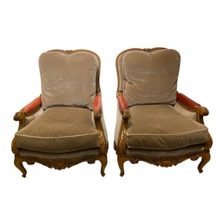 William Switzer Mohair and Leather Bergere Chairs- A Pair For Sale