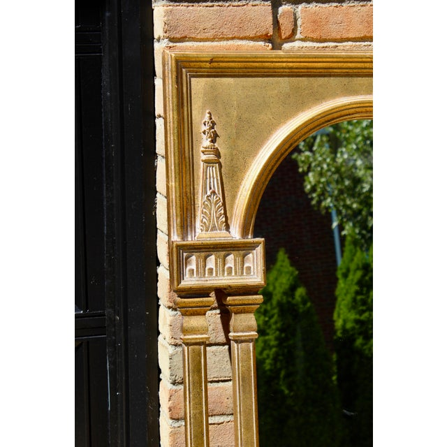"A statement anchor piece at 51"" tall. Lovely gilded look gold on carved wood, obelisk and columns adorn this..."