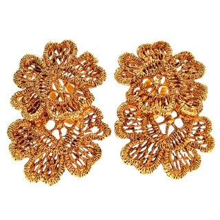 1970's Vintage Carol Dauplaise Gold Plate Double Flower Earrings For Sale