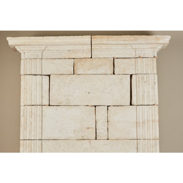 French 18th Century Neoclassical French Limestone Fireplace Surround For Sale - Image 3 of 9