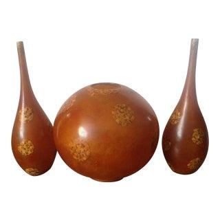 Mid Century Modern Orange Globe Lamp & Vases - Set of 3 For Sale