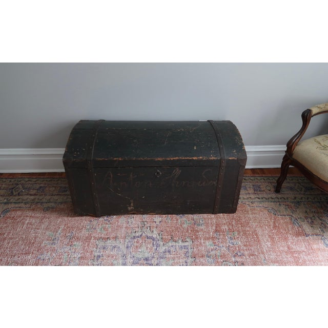Black Dometop Steamer Trunk Chest With Metal Strapping and Iron Handles For Sale - Image 8 of 11