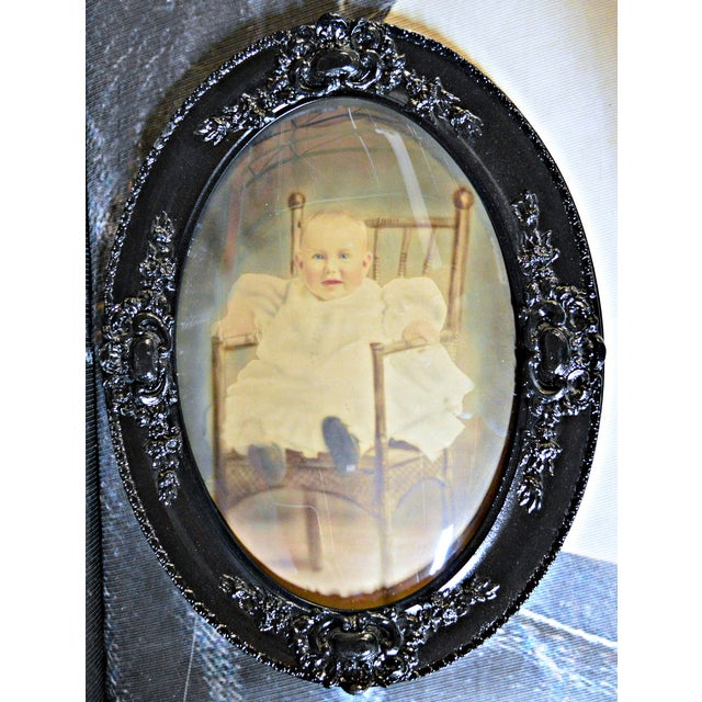 Antique Framed Baby Photograph Under Convex Glass For Sale - Image 4 of 5