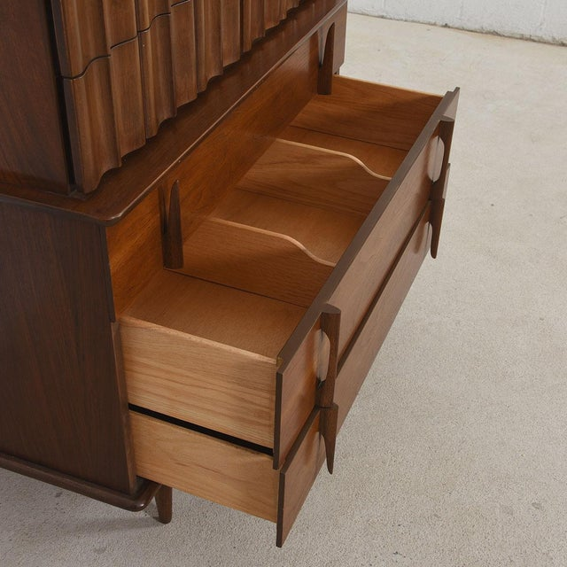 Mid Century Modern Tall Walnut Dresser - Image 4 of 7