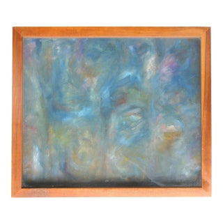 Blue Abstract Painting by Steve Crosot, Framed For Sale