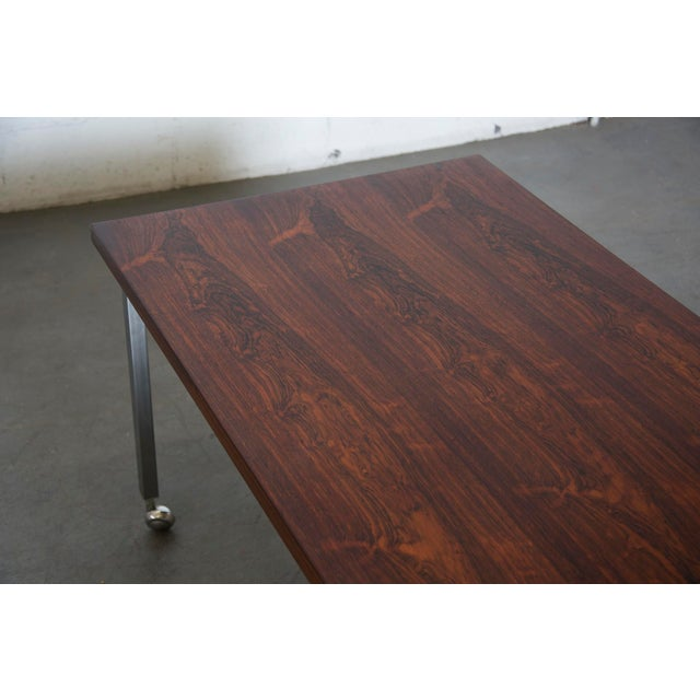 Large Rosewood Rolling Coffee Table - Image 7 of 8