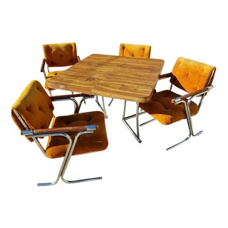 1970s Mid-Century Modern Tubular Chrome & Oak Dining Set - 5 Pieces For Sale