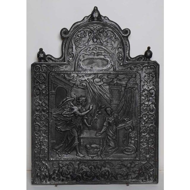 17th C. Antique Fireback Annunciation To The Blessed Virgin Mary For Sale - Image 6 of 6