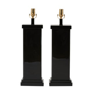 Art Deco Style Eglomise Table Lamp For Sale