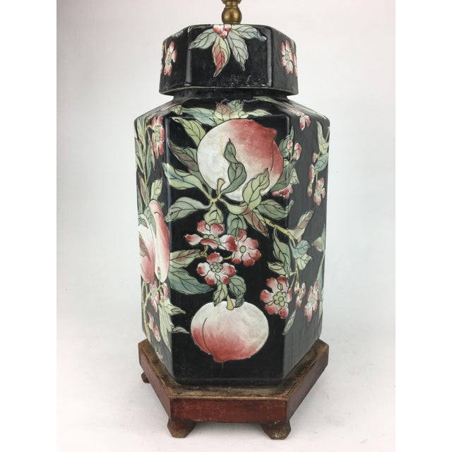 Asian 1970s Chinese Hexagonal Vase Lamp With Longevity Peaches For Sale - Image 3 of 7
