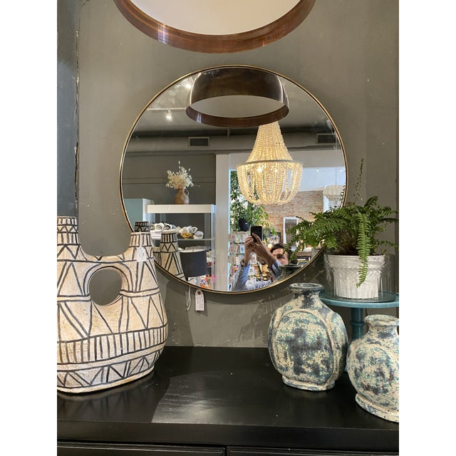 """Contemporary Round 30"""" Brass Mirror For Sale - Image 4 of 6"""