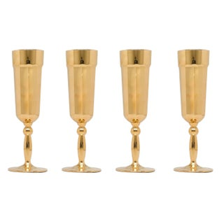 Gold Florentine Champagne Flutes - Set of 6 For Sale