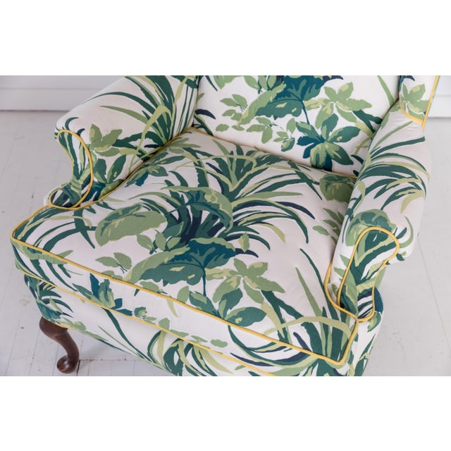 1960s Vintage Palm Leaf Pattern Fabric Wingback Chair For Sale - Image 10 of 13