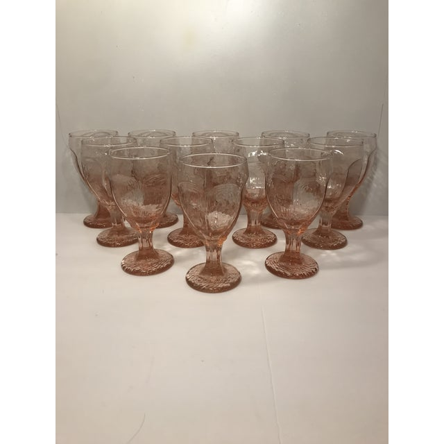 Pink 1980s Libbey Rock Sharpe Chivalry Pink Textured Water Goblets - Set of 12 For Sale - Image 8 of 8