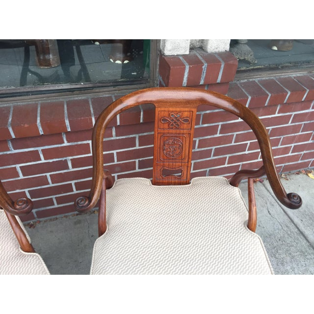 Asian Chinese Rosewood Horshoe Chairs a Pair For Sale - Image 3 of 7