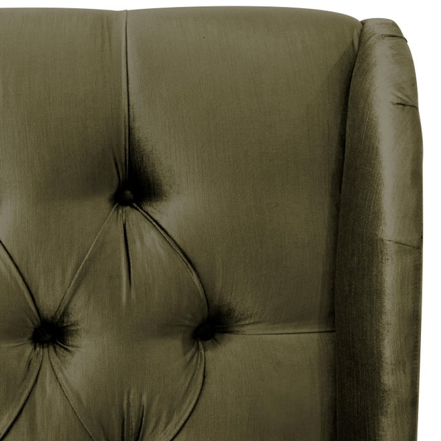 Contemporary Twin Tufted Wingback Headboard in Majestic Pine For Sale - Image 3 of 6