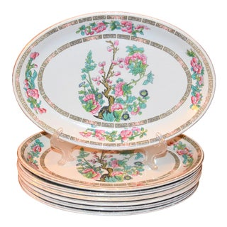 Chinoiserie Sampson Bridgwood Ironstone, Indian Tree Platters, Set of 7 For Sale