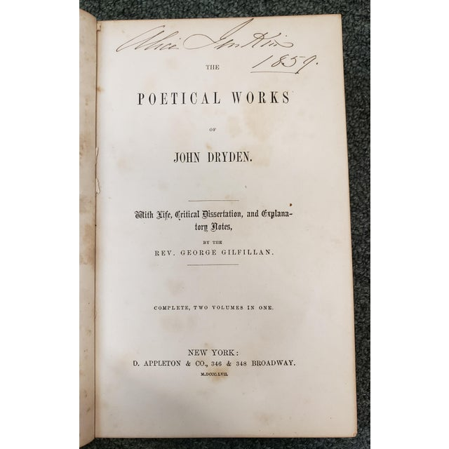 """Leather """"The Poetical Works of John Dryden"""" Book by Rev. George Gilfillan (1857) For Sale - Image 7 of 10"""