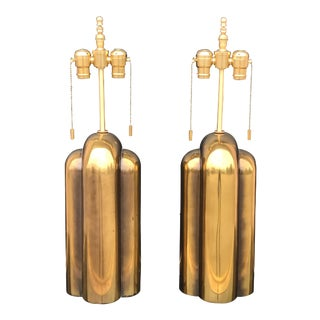 Patinated Brass Art Deco Style Lamps by Westwood - a Pair For Sale