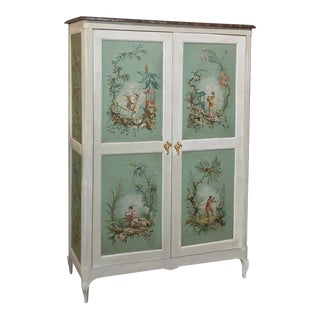 19th Century French Chinoiserie Painted Armoire or Cabinet With Faux Marble Top For Sale