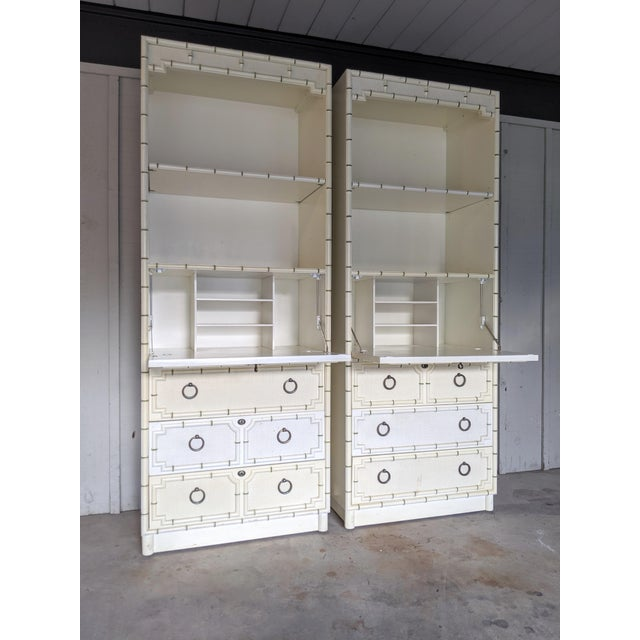 Drexel Kensington Faux Bamboo Secretary Cabinets, a Pair For Sale - Image 10 of 12