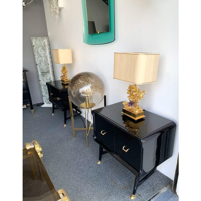 Vittorio Dassi Pair of Lacquered and Bronze End Tables by Vittorio Dassi, Italy, 1950s For Sale - Image 4 of 12