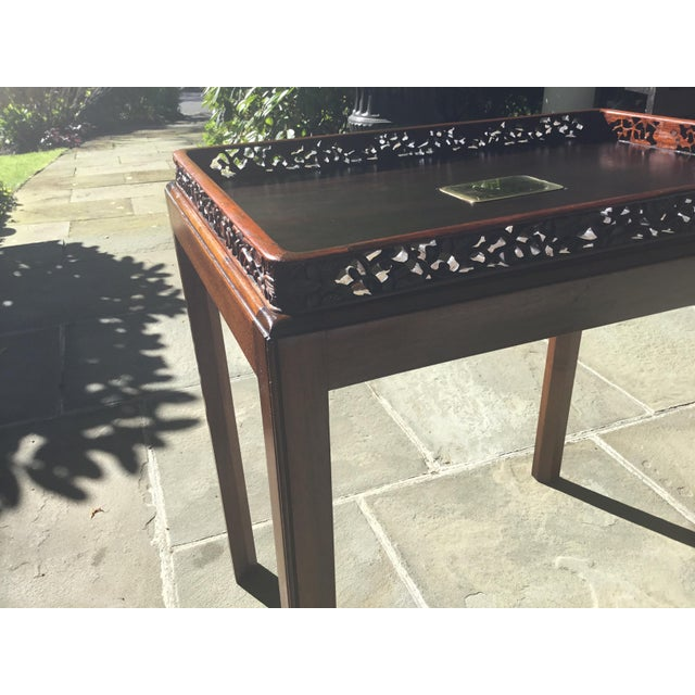 Metal Chinoiserie Chippendale Rosewood Tray Table For Sale - Image 7 of 12