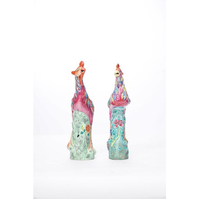Asian 20th C. Similar Pair Chinese Porcelain Birds For Sale - Image 3 of 4