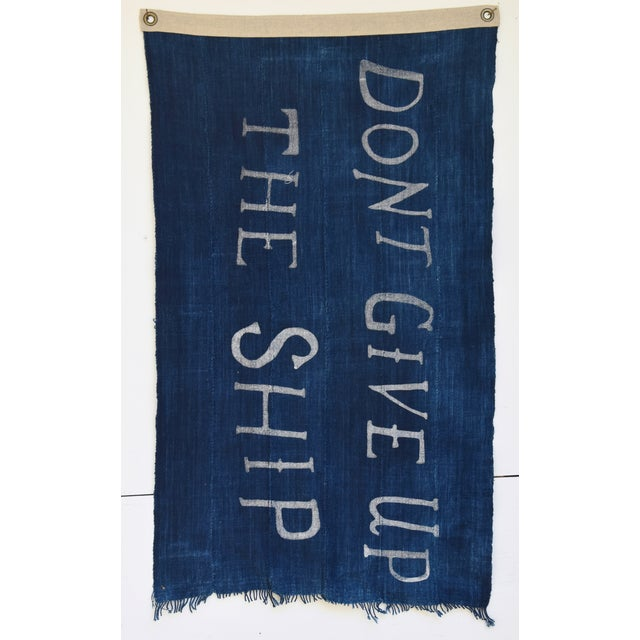 Custom-tailored nautical flag from vintage/professionally cleaned, handwoven/channeled indigo blue and white African...