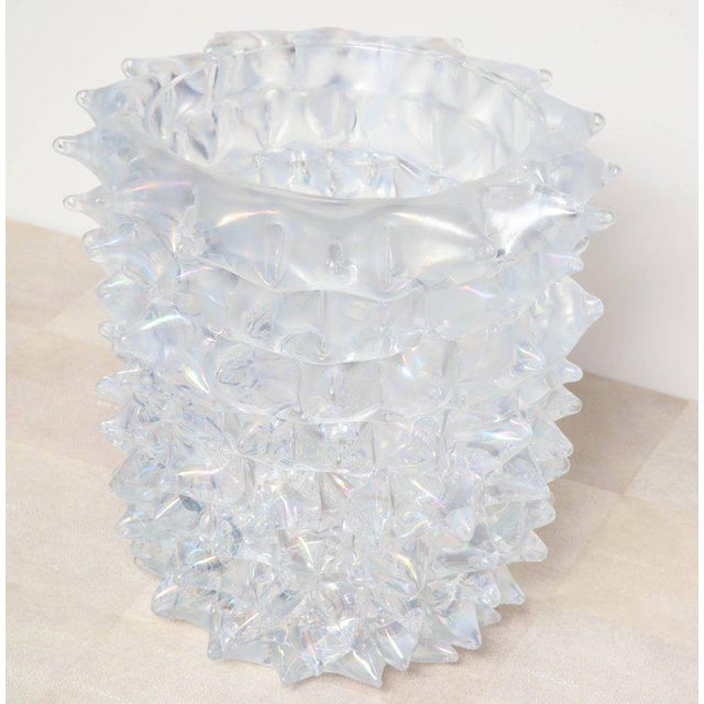 Enormous Signed Sinoretto Murano Iridescent Clear Glass Spiked Vase For Sale - Image 10 of 10