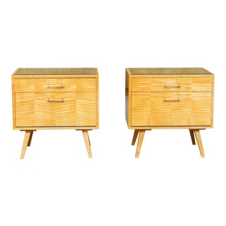 Mid-Century Tiger Maple Side Tables - a Pair For Sale