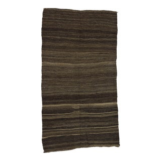 "Vintage Brown Goat Hair Kilim Rug - 5'9"" x 10'7"" For Sale"
