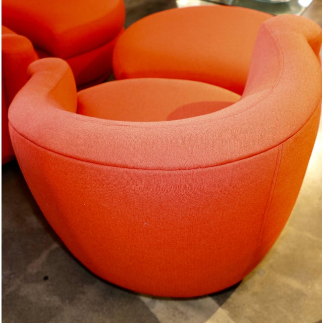 Vladimir Kagan for Weiman Chairs With Large Ottomans With Labels- A Pair For Sale - Image 10 of 12