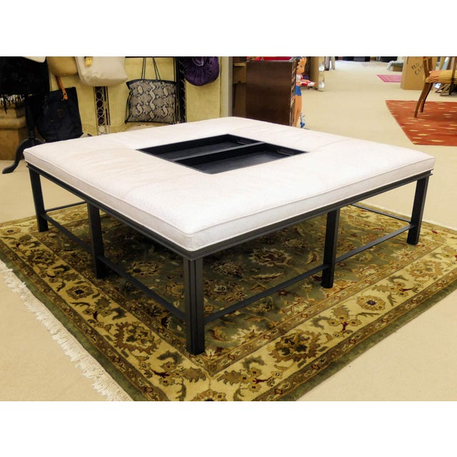 Baker Furniture Leather Porter Ottoman/Coffee Table Designed by Bill Sofield For Sale - Image 10 of 10