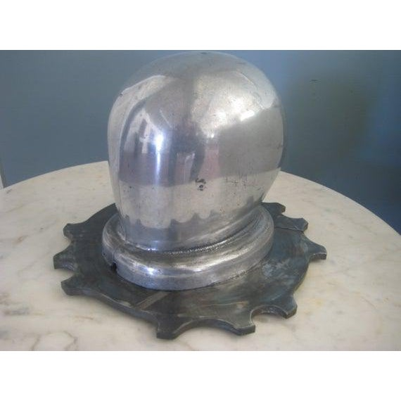 1930s 1930s Vintage Art Deco Period Aluminum Head Form on Dragster Clutch Plate Base Sculptural Piece For Sale - Image 5 of 7