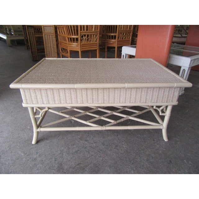 1970s Chippendale Wicker Coffee Table For Sale In West Palm - Image 6 of 6