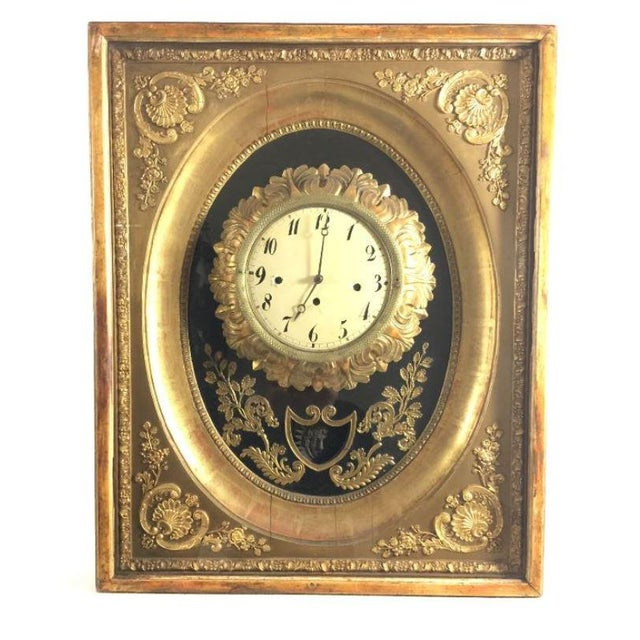 19th Century French Gilt Wall Clock in Shadow Box For Sale - Image 13 of 13
