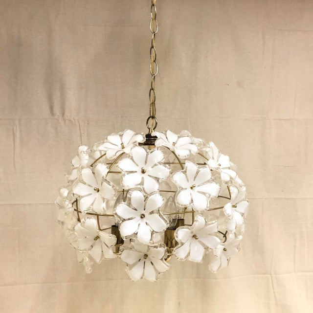 Gold Vintage 1960s White and Gold Flower Chandelier For Sale - Image 8 of 8